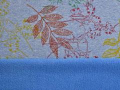 Alpenfleece Sweat bunte Blätter, jeansblau meliert