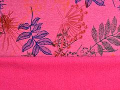 Alpenfleece Sweatstoff bunte Blätter, pink meliert