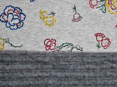 Alpenfleece Sweat Blumen Konturen, grau meliert