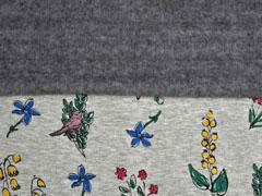 Alpenfleece Sweat bunte Blumen und Vögel, grau meliert