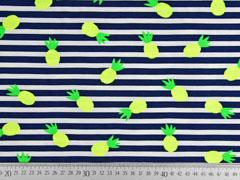 Jersey Streifen Ananas, neongelb neongrün dunkelblau weiß
