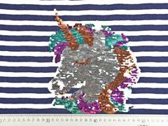 Jersey Panel Streifen Einhorn Wendepailletten, dunkelblau weiß