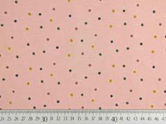 Jersey Punkte 3 mm, ocker dunkelgrün grau auf hellem Altrosa