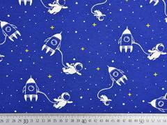 Jersey Raketen Astronauten Weltall , weiß kobaltblau
