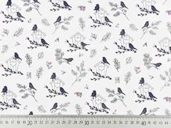 Baumwollstoff Vögel mit Vogelhäuschen, grau altrosa weiss