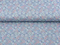 Jersey Blümchen, jeansblau