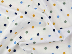 bestickter Baumwollstoff Punkte, dunkelblau ockergelb weiß