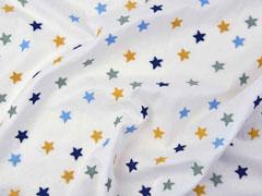 bestickter Baumwollstoff Sterne, dunkelblau ockergelb weiß