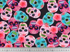 Jersey Digitaldruck mexikanische Totenköpfe, pink dunkelgrau