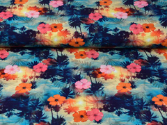 Jersey Hawaii Hibiskusblüten Digitaldruck, pink orange dunkelblau