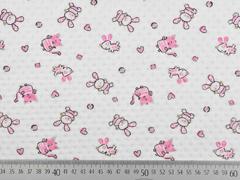Jersey kleine Tiere Ajour Muster, rosa cremeweiß