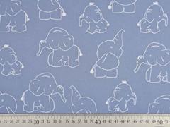 Softshell Stoff Elefanten, weiss rauchblau