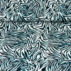 RESTSTÜCK 133 cm Viskosejersey Zebramuster Animal Print, petrol schwarz
