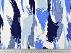 Viskose Stoff breite Pinselstriche, hellblau navy weiß