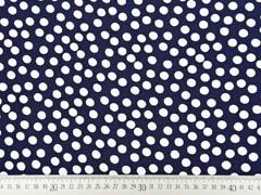 Viskose Stoff kleine Punkte, weiss dunkelblau