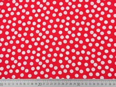 Viskose Stoff kleine Punkte, weiss rot