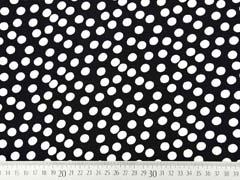 Viskose Stoff kleine Punkte, weiss schwarz