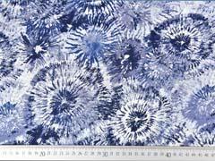 Viskose Crepe Blusenstoff Batik Kreise, weiss jeansblau