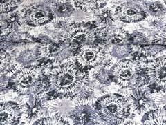 Viskose Crepe Blusenstoff Batik Kreise, weiss dunkelgrau