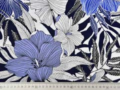 RESTSTÜCK 35 cm Viskose Crepe Stoff Blumen, jeansblau dunkelblau weiß