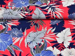Viskose Crepe Stoff Blumen, dunkelblau weiß rot