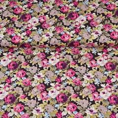 Baumwollstoff Rosenblüten, pink weiß braun