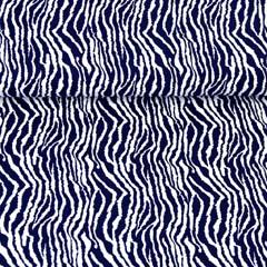 RESTSTÜCK 77 cm Viskosejersey Zebramuster Animal Print, dunkelblau