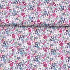 RESTSTÜCK 97 cm Baumwollstoff kleine Blumen Silky Cotton, pink mint weiß