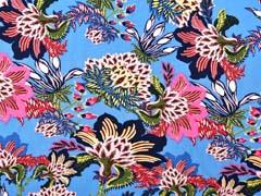 Viskose Stoff opulente Blumen, pink navy mittelblau