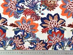 Viskose Stoff opulente Blumen, dunkelblau terracotta creme
