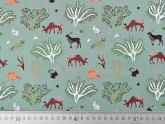 Baumwollstoff Hirsche Bäume Hasen Füchse, altmint
