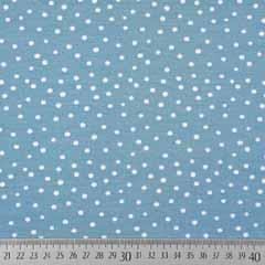 Jerseystoff Punkte, weiß hellblau