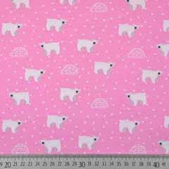Jerseystoff Eisbären Iglos Punkte, weiß rosa