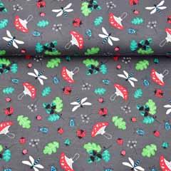 Jerseystoff Fliegenpilze Libellen Eichenblätter, dunkelgrau