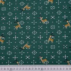 Jerseystoff Hirsche Blümchen, dunkelgrün