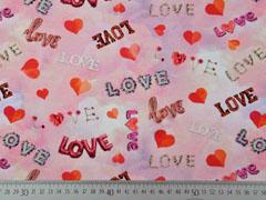 Jersey Herzen LOVE Schriftzug Digitaldruck, rosa