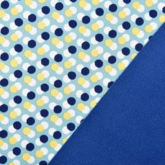 Softshell Stoff Jackenstoff Punkte, gelb dunkelblau mint