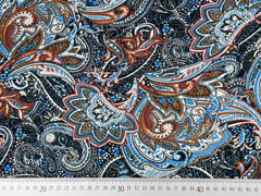 Viskosejersey Paisley Muster, blau terracotta schwarz