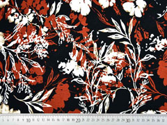 Viskosejersey Blumen Blätter, cremeweiß terracotta schwarz
