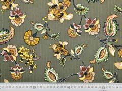 Viskose Stoff Blumen Glitzer Streifen, gold ocker khaki