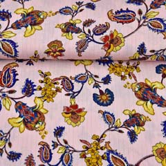 Viskose Stoff Blumen Glitzer Streifen, gold dunkelblau ocker rosa