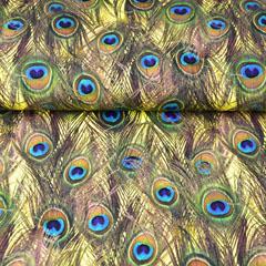 Jersey Pfaufedern Digitaldruck, dunkelblau türkis ockergelb