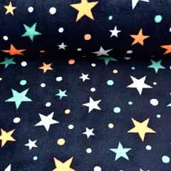 Wellnessfleece Doubleface Sterne Streifen,neonorange dunkelblau