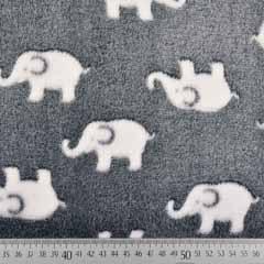 Wellnessfleece Elefanten, weiss grau