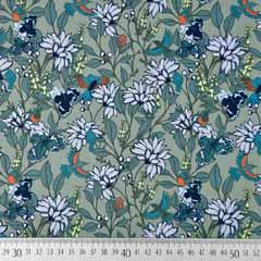 Baumwollstoff Blumen Vögel, hellblau altmint