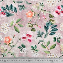 Jerseystoff Rosen Hortensien Blumen Digitaldruck, orange rot taupe