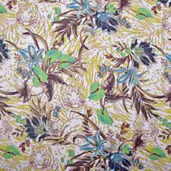 RESTSTÜCK 116 cm Chiffon Löwe tropische Blätter, grün braun beige
