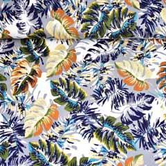 Viskose Jersey Stoff tropische Blätter, dunkelblau grau