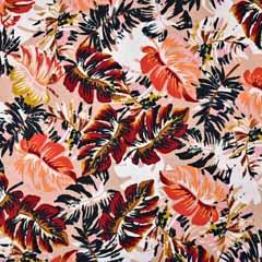 Viskose Jersey Stoff tropische Blätter, hellaltrosa