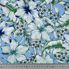 Viskose Stoff tropische Blumen Blätter, weiß blau